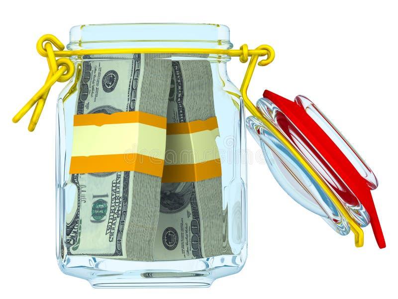 Frasco de vidro com os pacotes de dólares americanos ilustração stock