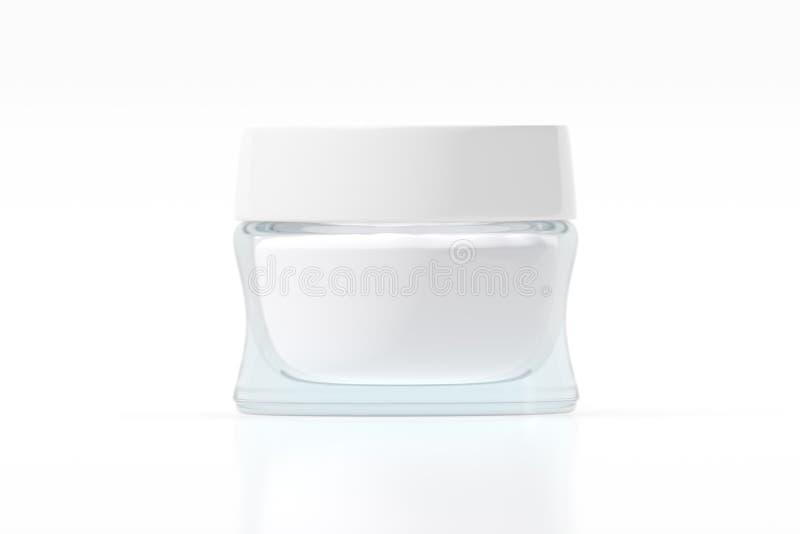 Frasco de vidro com rendição plástica branca da tampa 3D Sombras e reflexões imagens de stock