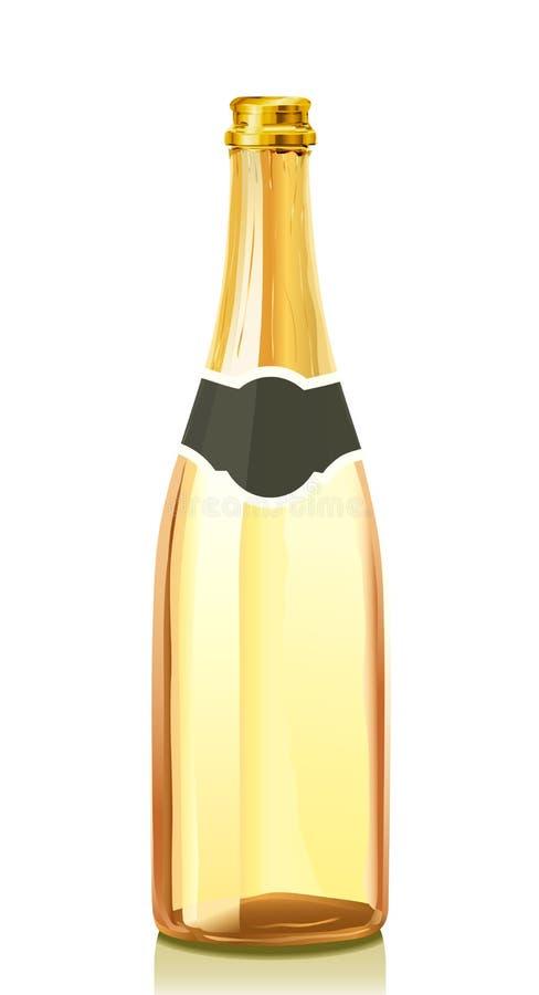 Frasco de vidro com vinho de Champagne do ouro ilustração do vetor