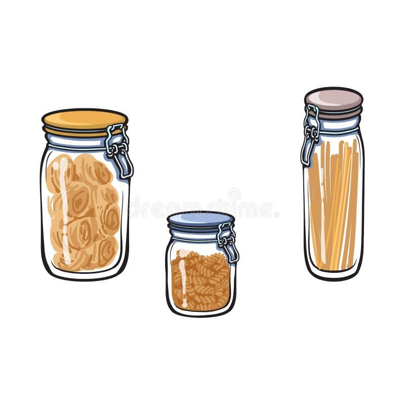 Frasco de vidro do vetor com esboço ajustado da tampa da parte superior do balanço ilustração stock