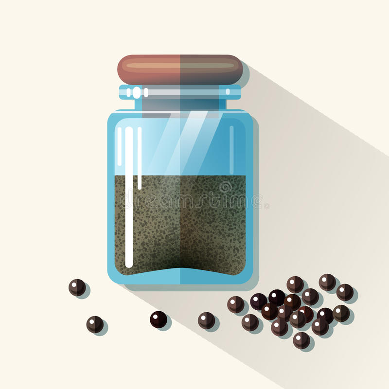 Frasco de vidro do vetor com pimenta preta ilustração stock