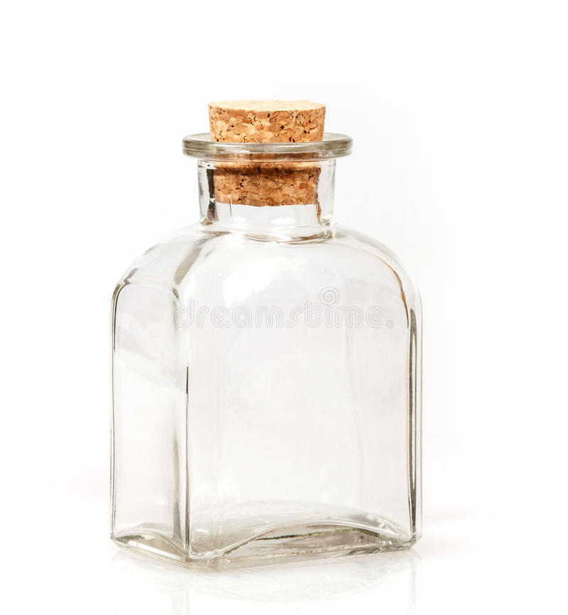 Frasco de vidro em branco com bujão da cortiça fotografia de stock
