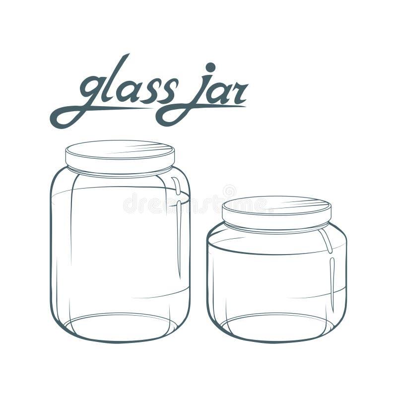 Frasco de vidro Mão do frasco tirada Rotulação do frasco de vidro ilustração royalty free
