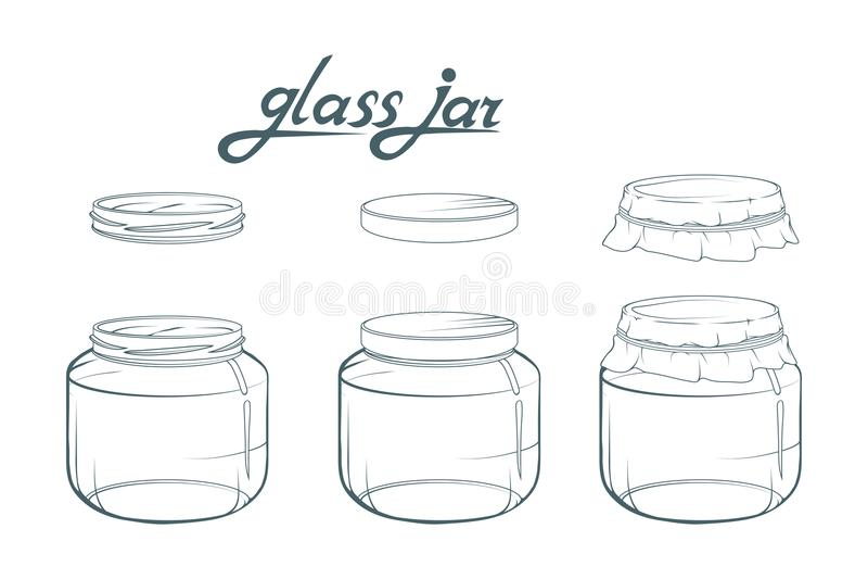 Frasco de vidro Mão do frasco tirada Rotulação do frasco de vidro ilustração stock