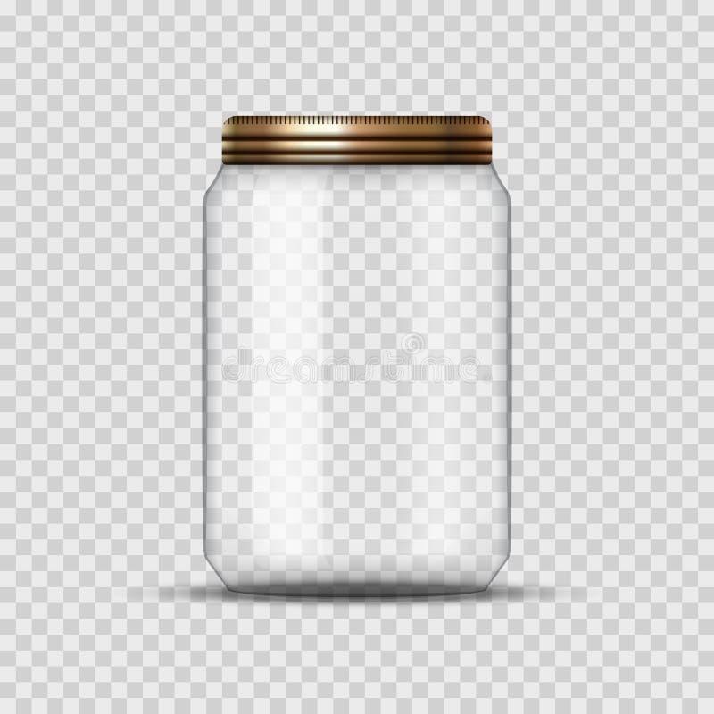 Frasco de vidro para a colocação em latas e a conservação Molde vazio do projeto do frasco do vetor com tampa ou tampa em transpa ilustração stock