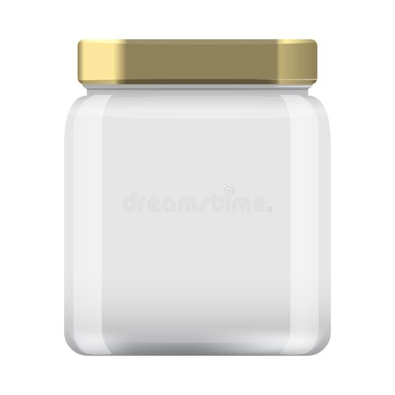 Frasco de vidro para a colocação em latas e a conservação Tampão ascendente do molde do projeto da zombaria vazia do frasco ilustração royalty free