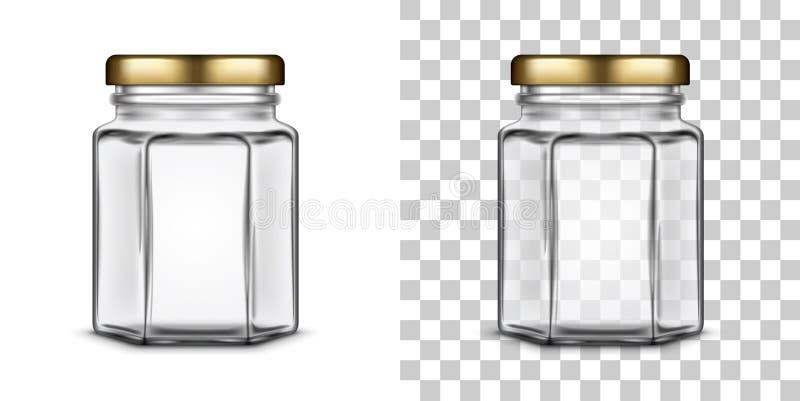 Frasco de vidro sextavado vazio do vetor para o mel Ilustração realística ilustração royalty free