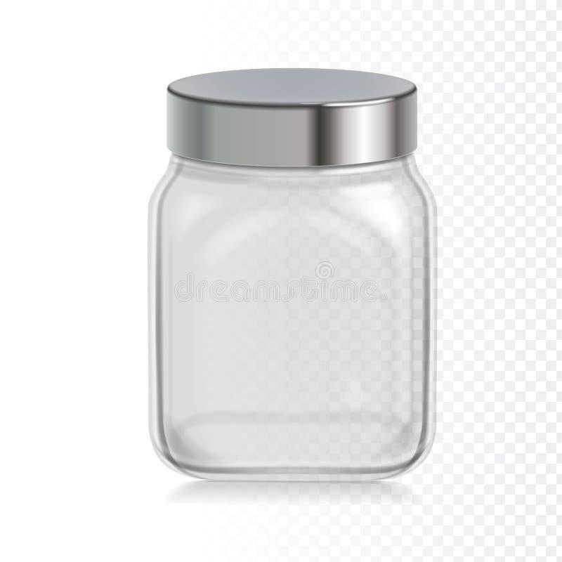 Frasco de vidro transparente vazio com tampão do metal Ilustração do vetor Empacotamento para cereais ilustração stock