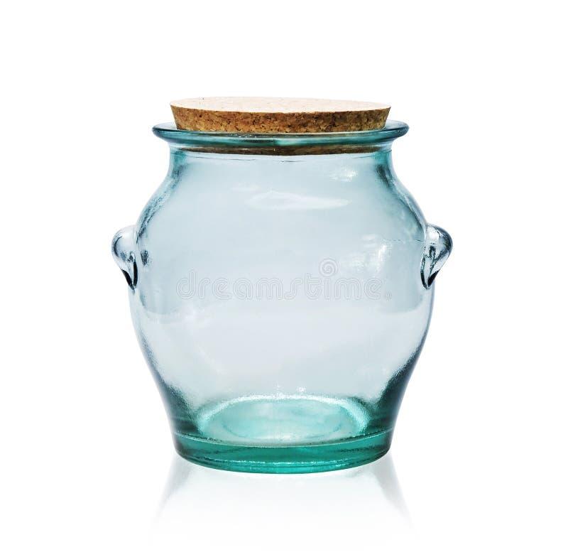 Frasco de vidro vazio com bujão da cortiça. foto de stock