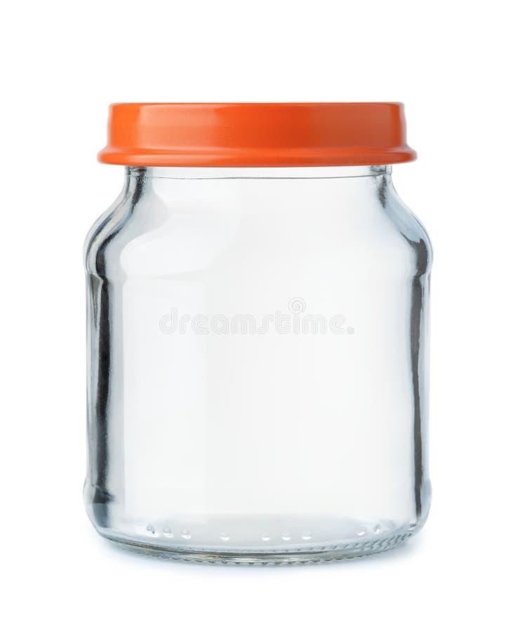 Frasco de vidro vazio pequeno com tampa imagem de stock royalty free
