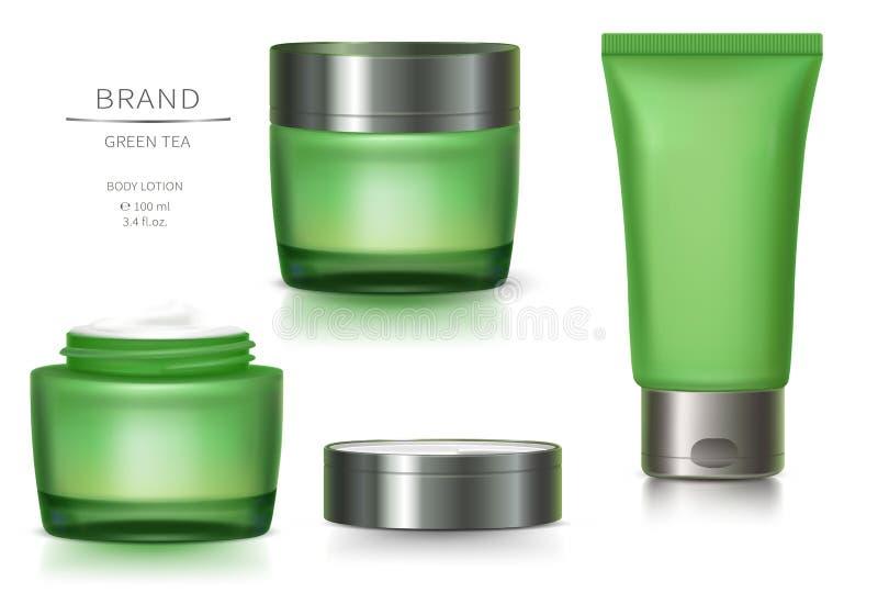 Frasco de vidro verde e tubo plástico ilustração stock