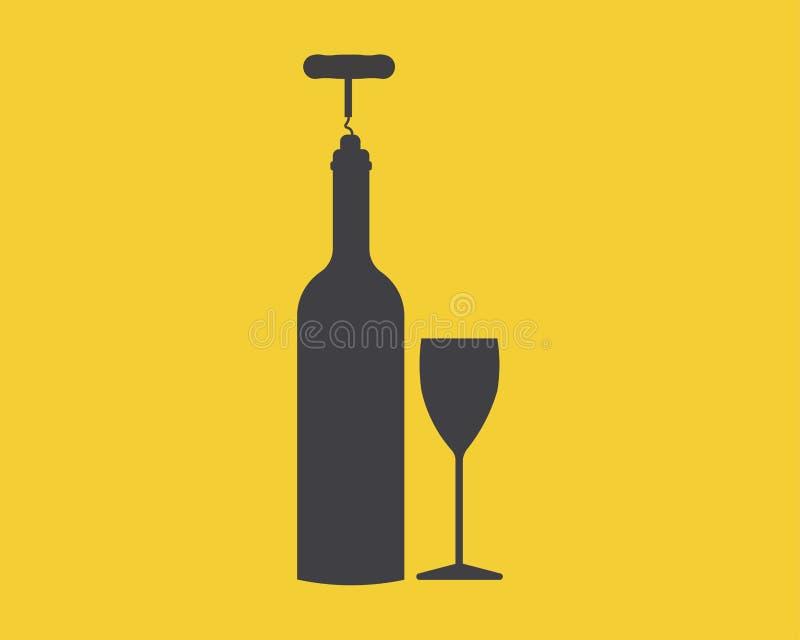 Frasco de vinho com um vidro ilustração royalty free