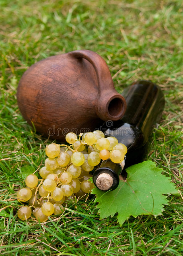 Frasco de vinho, crock e uva imagem de stock royalty free