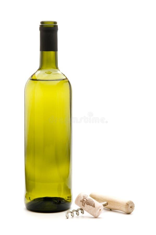frasco de vinho e corkscrew fotografia de stock