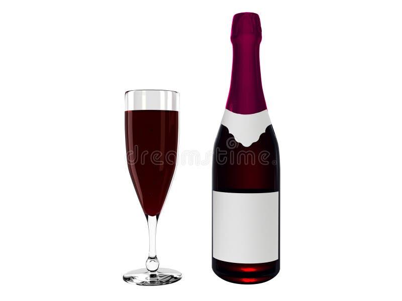Garrafa de vinho e vinho no vidro fotos de stock royalty free