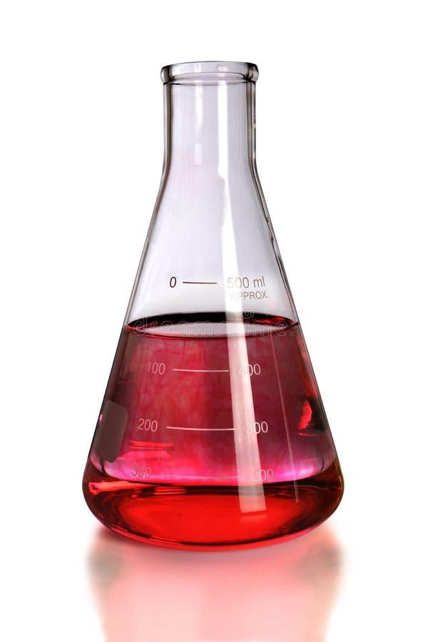 Frasco Del Laboratorio Con El Colorante Rojo Foto de archivo ...