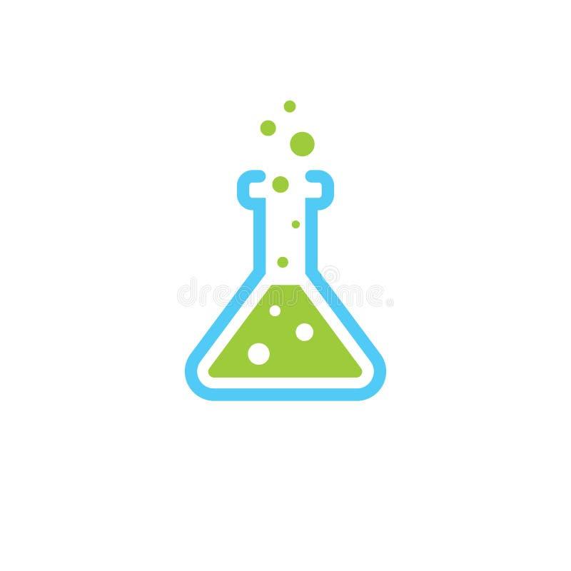 Frasco del laboratorio de ciencia - laboratorio químico - investigación de la química - ejemplo plano del vector aislado en el fo stock de ilustración