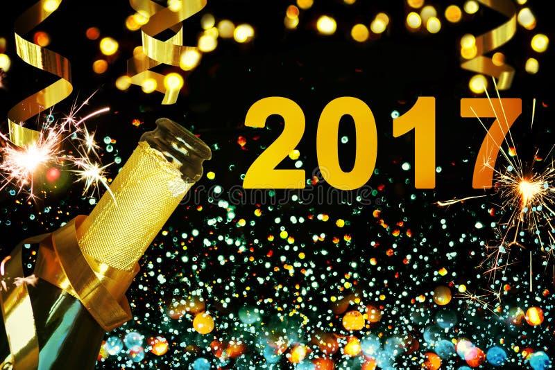 Frasco do champanhe Ano novo feliz foto de stock
