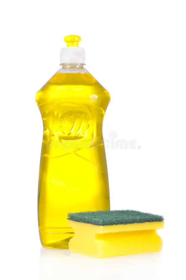 Frasco do detergente líquido e almofada de limpeza imagem de stock