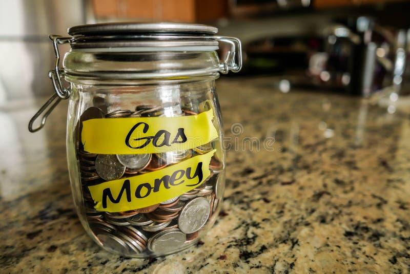 Frasco do dinheiro do gás imagens de stock