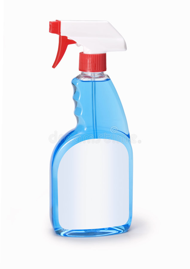 Frasco do líquido de limpeza de vidro fotografia de stock royalty free
