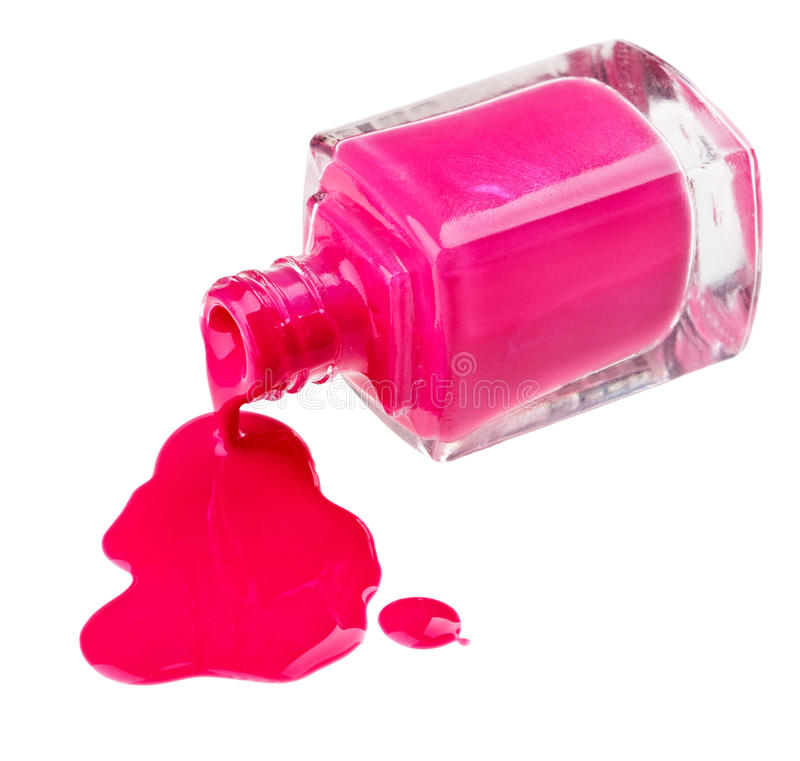 Frasco do lustrador de prego cor-de-rosa com amostras da gota imagem de stock royalty free