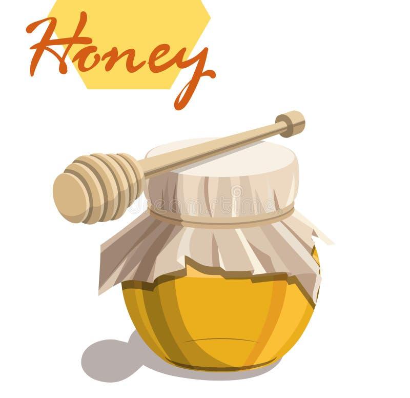 Frasco do mel e vara de madeira do dipper ilustração stock