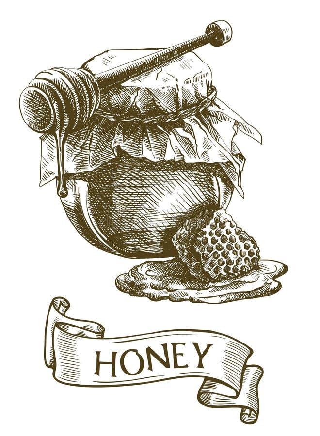 Frasco do mel, vara de madeira do dipper e favo de mel ilustração stock