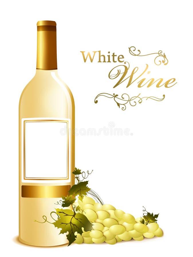 Frasco do vinho branco com uva ilustração do vetor