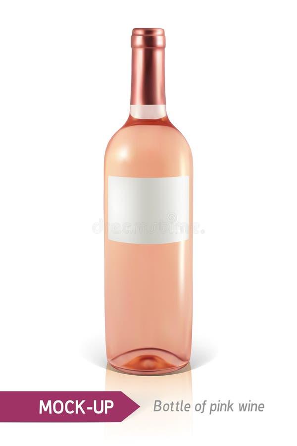 Frasco do vinho cor-de-rosa ilustração stock