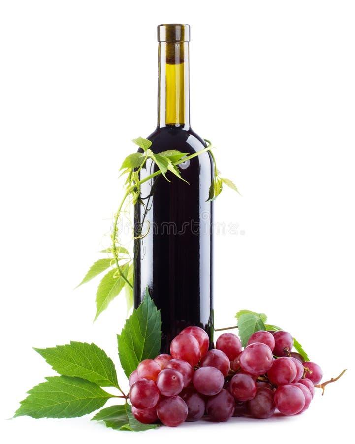 Frasco do vinho vermelho com uvas foto de stock