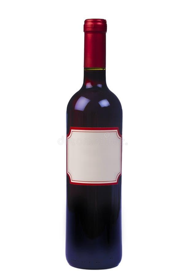 Frasco do vinho vermelho da qualidade com etiqueta em branco fotografia de stock royalty free