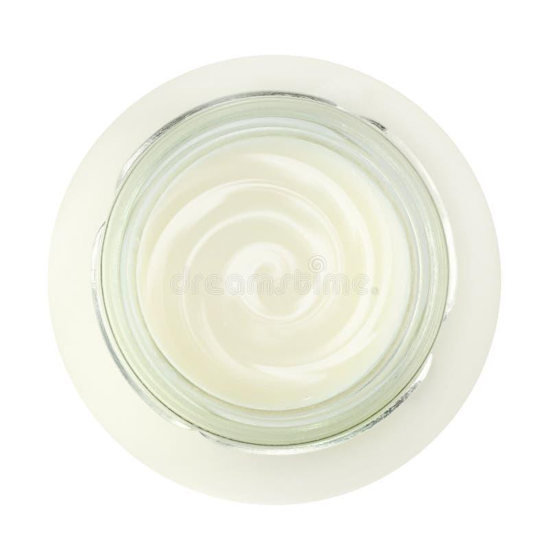 Frasco do yogurt fresco, vista superior fotografia de stock