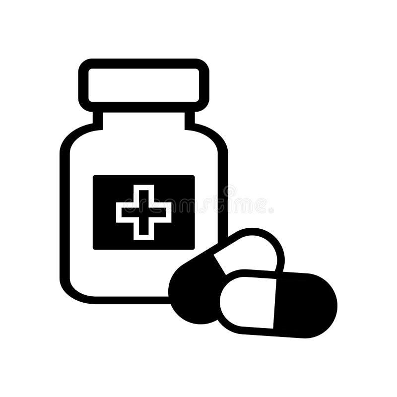 Frasco e comprimidos da medicina ?cone preto e branco Ilustra??o do vetor ilustração do vetor