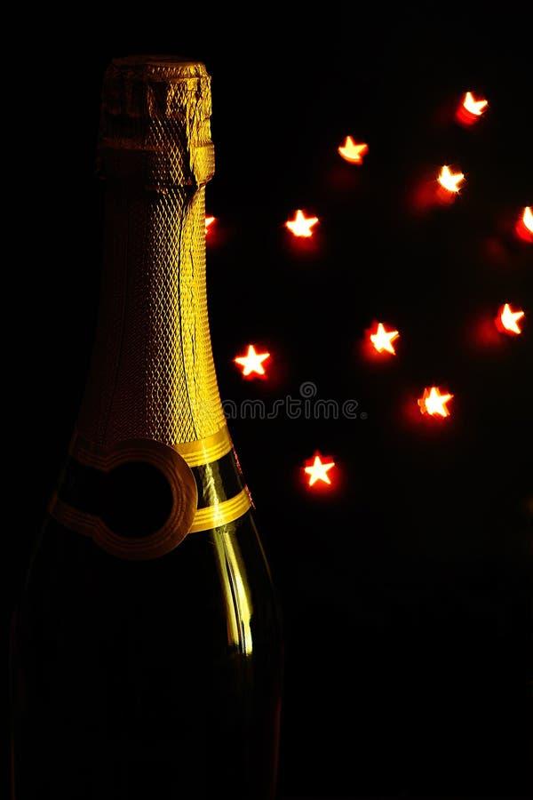 Frasco e estrelas blured imagem de stock royalty free