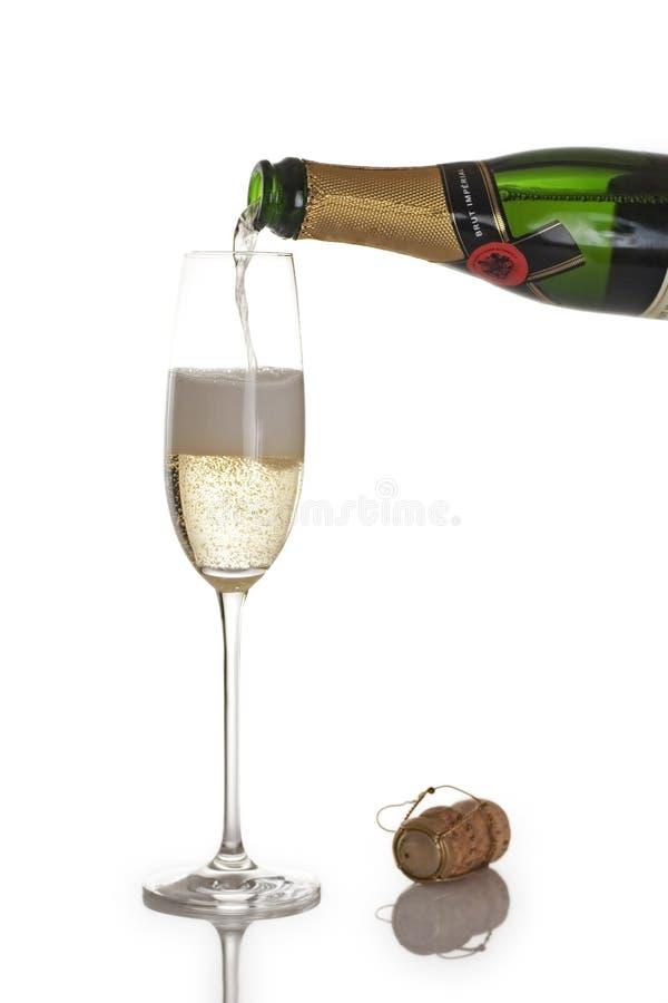 Frasco e flauta de Champagne fotografia de stock