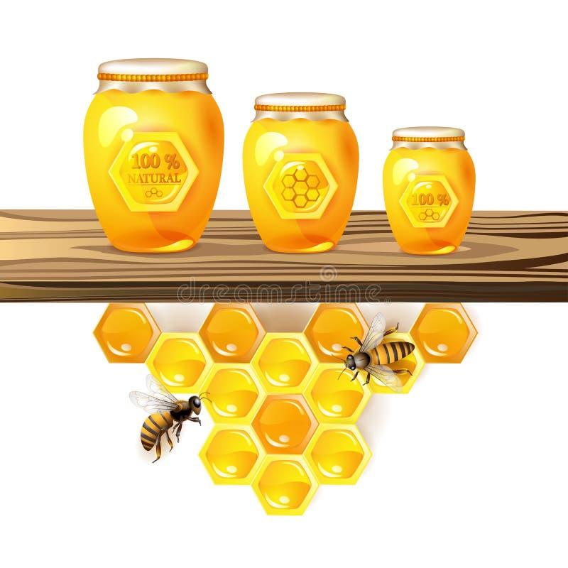 Frasco e mel de vidro ilustração stock