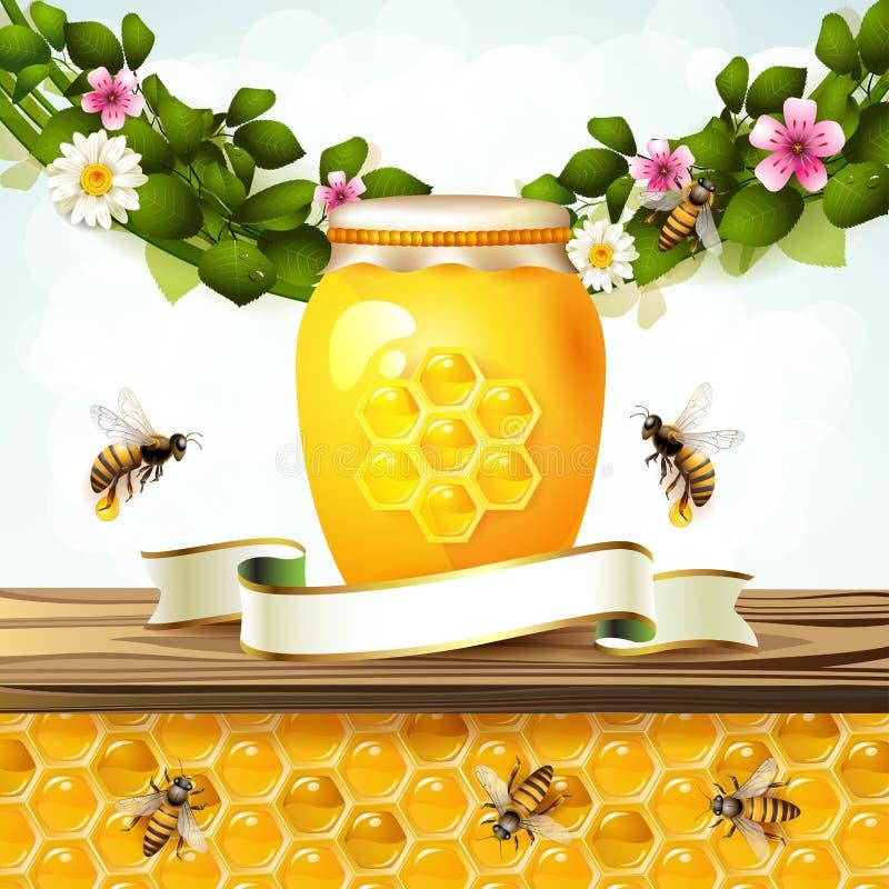Frasco e mel de vidro ilustração do vetor