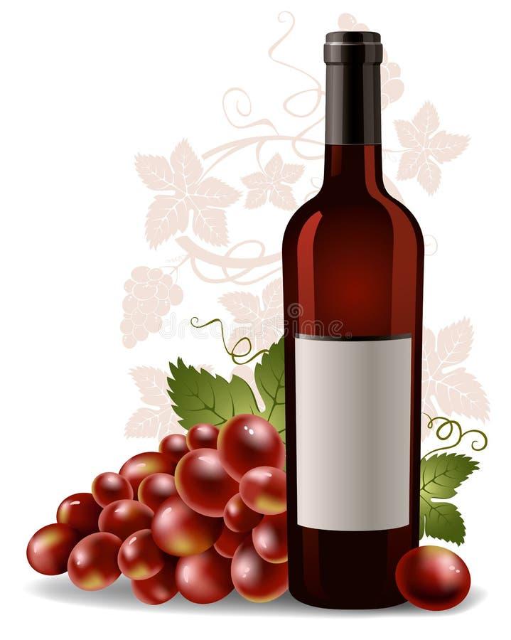 Frasco e uva de vinho ilustração do vetor