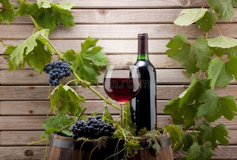 Frasco e vidro de vinho vermelho imagem de stock