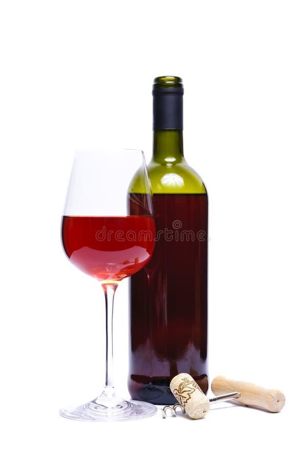 Frasco e vidro do vinho vermelho fotos de stock