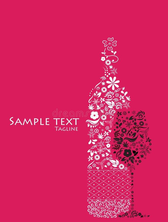 Frasco e vidro florais abstratos de vinho. ilustração stock