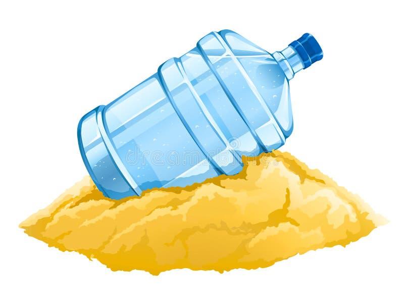 Frasco grande com bebida limpa da água azul na areia ilustração stock