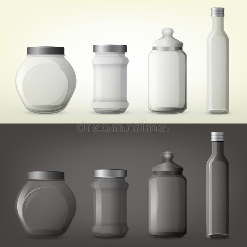 Frasco ou garrafas de vidro para a especiaria ou o tempero ilustração do vetor