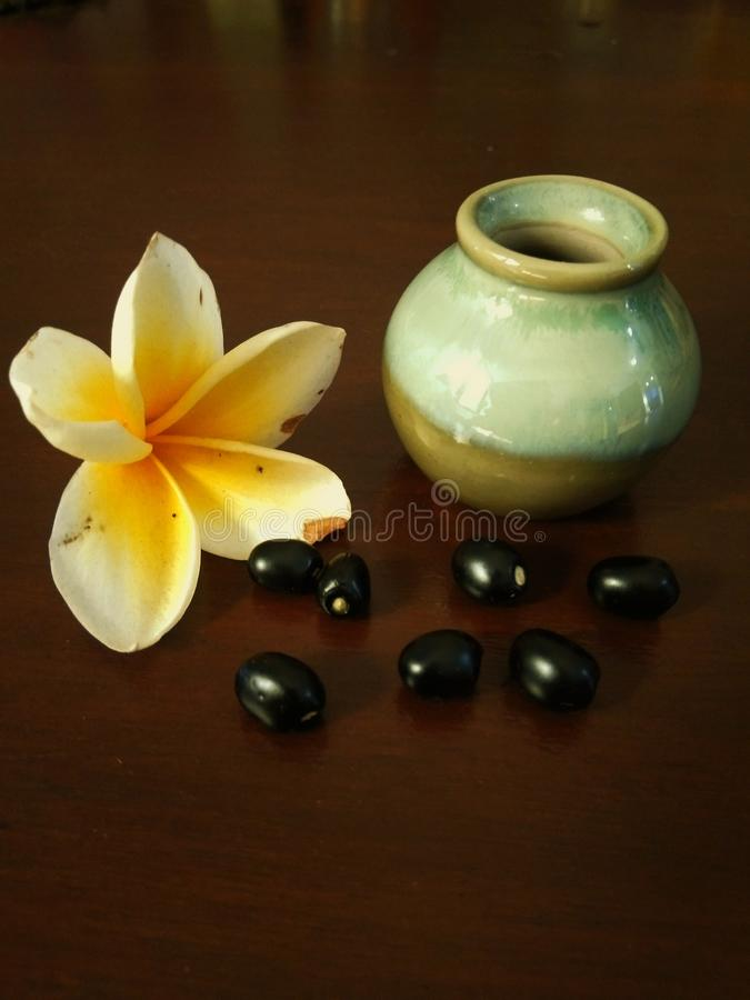 Frasco pequeno com flores e gr?es do frangipani imagem de stock royalty free