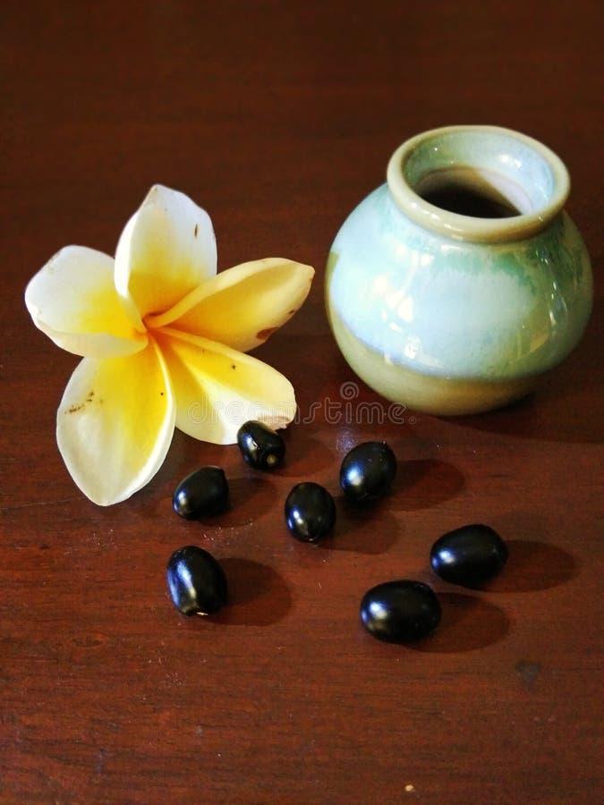 Frasco pequeno com flores e gr?es do frangipani fotografia de stock
