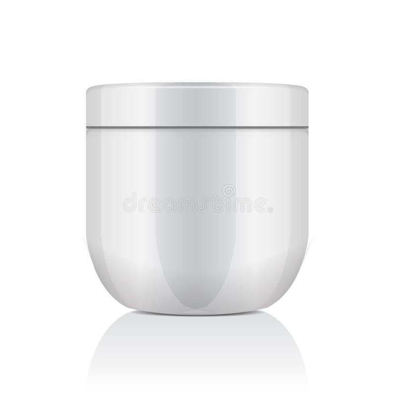 Frasco plástico branco redondo com a tampa para cosméticos nata, gel, pomada, bálsamo Molde do modelo do vetor ilustração stock