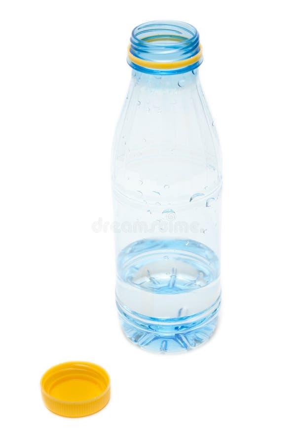 Frasco plástico com água imagem de stock