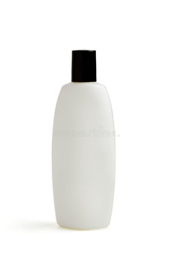 Frasco plástico isolado no fundo branco Zombaria acima para seu projeto champô, condicionador, gel do chuveiro, cosméticos, creme imagem de stock royalty free