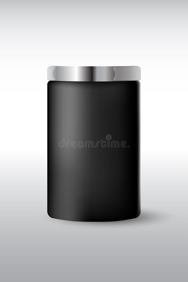 Frasco plástico matte preto redondo com a tampa do metal para cosméticos - o creme de corpo, manteiga, esfrega, sal de banho, gel ilustração do vetor